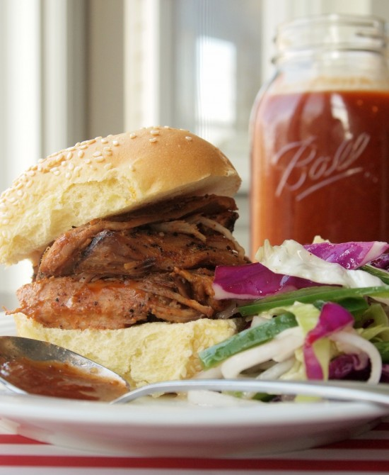 Coffee-Crusted Pulled Pork with Coffee Barbecue Sauce and Spicy Vinegar Slaw by Rhubarb and Honey