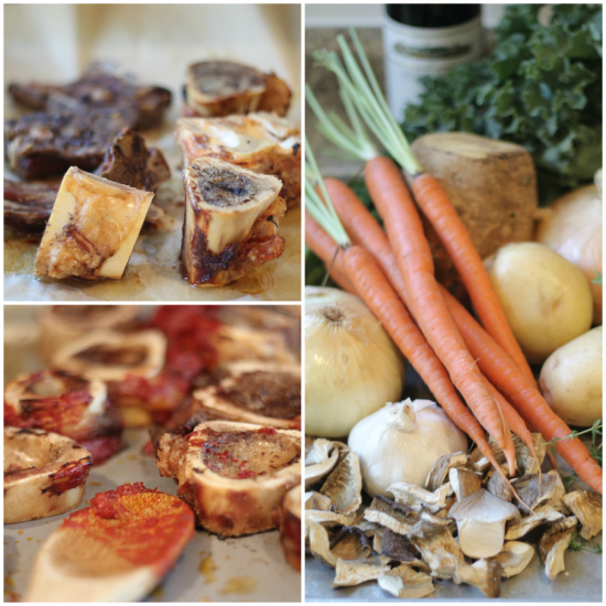 Bones and Veggies for Homemade Beef Stock