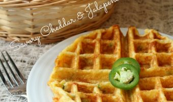 Savory Cheddar and Jalapeno Waffles #FoodieExtravaganza