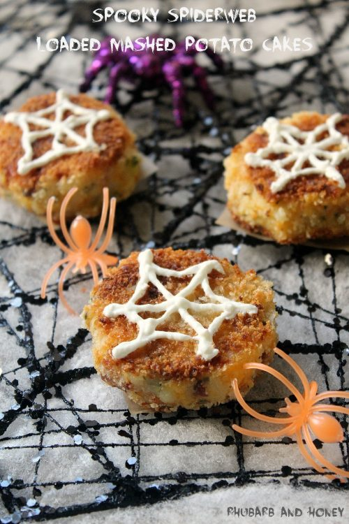 Spooky Spiderweb Loaded Mashed Potato Cakes