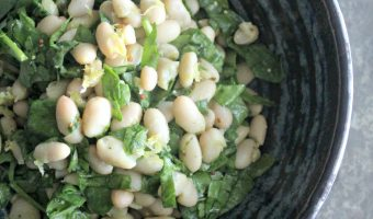 Spinach and White Bean Salad with Tangy Mustard Dressing #TheRecipeReDux