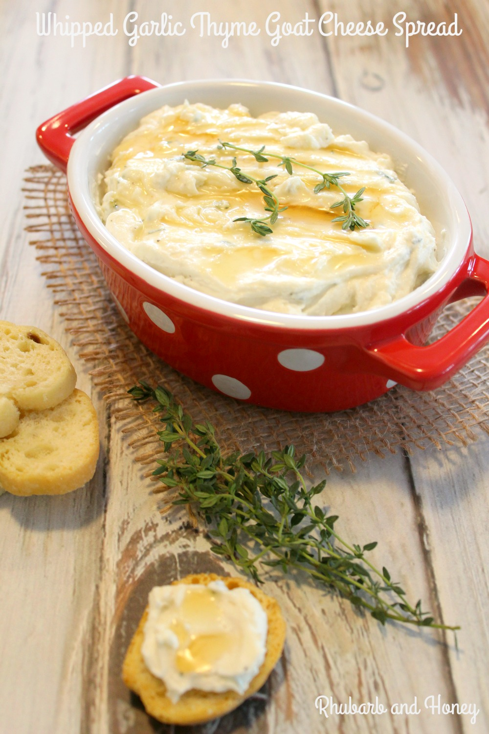 Whipped Garlic Thyme Goat Cheese Spread #FreshTastyValentines